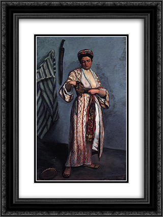 Woman in Moorish Costume 18x24 Black or Gold Ornate Framed and Double Matted Art Print by Frederic Bazille