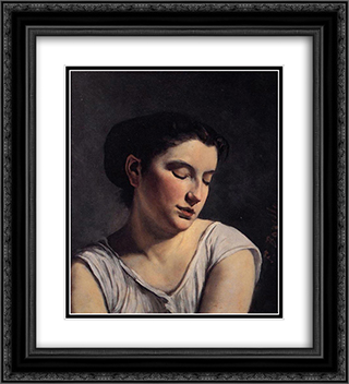 Young Woman with Lowered Eyes 20x22 Black or Gold Ornate Framed and Double Matted Art Print by Frederic Bazille