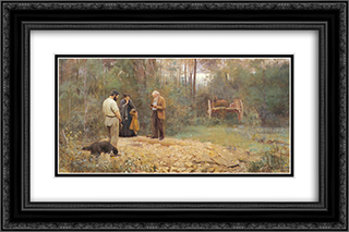 A bush burial 24x16 Black or Gold Ornate Framed and Double Matted Art Print by Frederick McCubbin