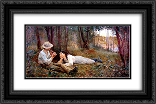 Bush Idyll 24x16 Black or Gold Ornate Framed and Double Matted Art Print by Frederick McCubbin