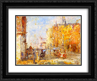 Collins Street 24x20 Black or Gold Ornate Framed and Double Matted Art Print by Frederick McCubbin