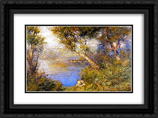 Golden sunlight 24x18 Black or Gold Ornate Framed and Double Matted Art Print by Frederick McCubbin