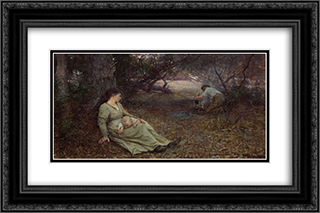 On the wallaby track 24x16 Black or Gold Ornate Framed and Double Matted Art Print by Frederick McCubbin