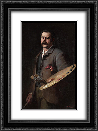 Self-portrait 18x24 Black or Gold Ornate Framed and Double Matted Art Print by Frederick McCubbin
