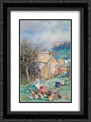 The cottage children (Rain and sunshine) 18x24 Black or Gold Ornate Framed and Double Matted Art Print by Frederick McCubbin