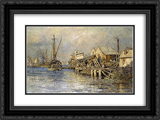 The old ship, Williamstown 24x18 Black or Gold Ornate Framed and Double Matted Art Print by Frederick McCubbin