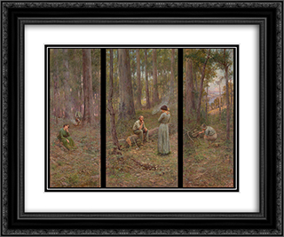 The pioneer 24x20 Black or Gold Ornate Framed and Double Matted Art Print by Frederick McCubbin