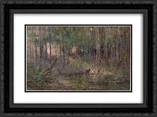 Violet and gold 24x18 Black or Gold Ornate Framed and Double Matted Art Print by Frederick McCubbin