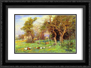 Winter Sunlight 24x18 Black or Gold Ornate Framed and Double Matted Art Print by Frederick McCubbin
