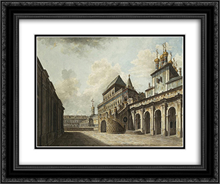 Boyars's platform 24x20 Black or Gold Ornate Framed and Double Matted Art Print by Fyodor Alekseyev