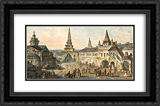 Church of St. John the Baptist, Borovitskaya tower and Stablings prikaz (department) in the Kremlin 24x16 Black or Gold Ornate Framed and Double Matted Art Print by Fyodor Alekseyev