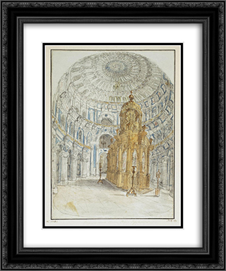 Holy Resurrection Cathedral of New Jerusalem Monastery. Internal view. 20x24 Black or Gold Ornate Framed and Double Matted Art Print by Fyodor Alekseyev