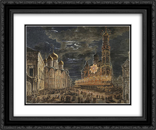 Illumination at Soboronaya Square on the occasion of the coronation of Alexander I 24x20 Black or Gold Ornate Framed and Double Matted Art Print by Fyodor Alekseyev