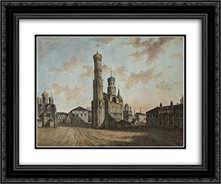 Ivan the Great Bell Tower and Chudov Monastery in the Kremlin 24x20 Black or Gold Ornate Framed and Double Matted Art Print by Fyodor Alekseyev