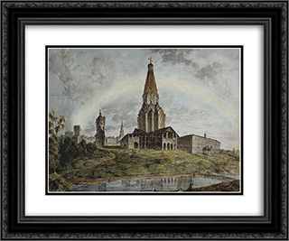 Kolomenskoe village 24x20 Black or Gold Ornate Framed and Double Matted Art Print by Fyodor Alekseyev