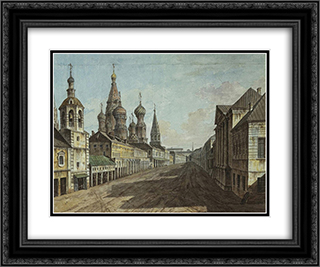Moskvoretskaya Street 24x20 Black or Gold Ornate Framed and Double Matted Art Print by Fyodor Alekseyev