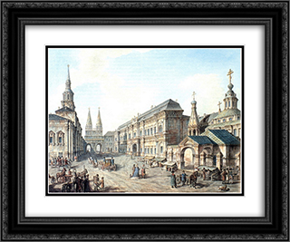 North side of Red Square 24x20 Black or Gold Ornate Framed and Double Matted Art Print by Fyodor Alekseyev