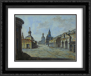 Novaya square 24x20 Black or Gold Ornate Framed and Double Matted Art Print by Fyodor Alekseyev