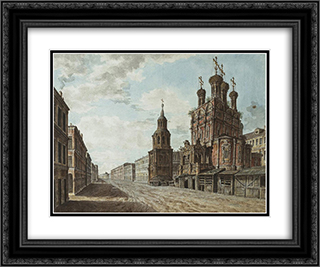 November 7, 1824 in the square in front of the Bolshoi Theatre 24x20 Black or Gold Ornate Framed and Double Matted Art Print by Fyodor Alekseyev