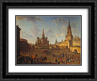 Red Square, Moscow 24x20 Black or Gold Ornate Framed and Double Matted Art Print by Fyodor Alekseyev
