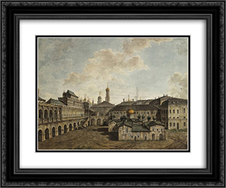 Terem and Church of Our Savior in a pine forest in the Kremlin 24x20 Black or Gold Ornate Framed and Double Matted Art Print by Fyodor Alekseyev