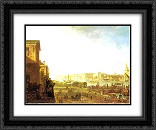 The Admiralty and the Winter Palace viewed from the Military College 24x20 Black or Gold Ornate Framed and Double Matted Art Print by Fyodor Alekseyev