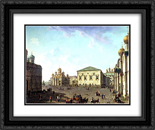 The Annunciation Cathedral and Faceted palace 24x20 Black or Gold Ornate Framed and Double Matted Art Print by Fyodor Alekseyev