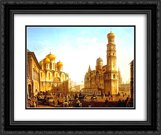 The Cathedral Square in the Moscow Kremlin 24x20 Black or Gold Ornate Framed and Double Matted Art Print by Fyodor Alekseyev