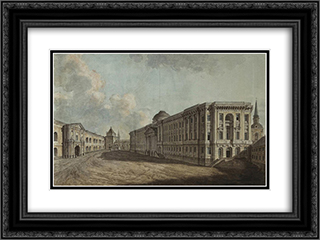 The Senate, Arsenal and Nikolskiye Gates in the Moscow Kremlin 24x18 Black or Gold Ornate Framed and Double Matted Art Print by Fyodor Alekseyev