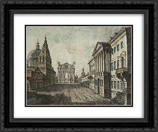 Tverskaya Street and Triumphal Arch in the Strastnaya Square 24x20 Black or Gold Ornate Framed and Double Matted Art Print by Fyodor Alekseyev