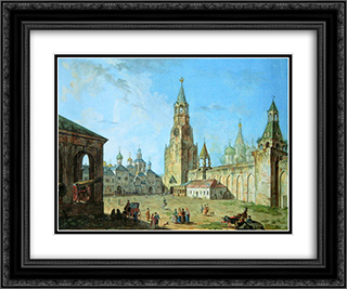 View from the Kremlin's Spassky Gate 24x20 Black or Gold Ornate Framed and Double Matted Art Print by Fyodor Alekseyev