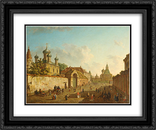 View of Lubyanka 24x20 Black or Gold Ornate Framed and Double Matted Art Print by Fyodor Alekseyev