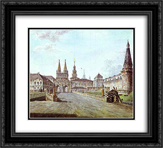 View of Moscow Near the Iversky Gate of the Kremlin 22x20 Black or Gold Ornate Framed and Double Matted Art Print by Fyodor Alekseyev