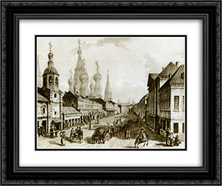View of Moskvoretskaya Street, Zaryadye, Moscow 24x20 Black or Gold Ornate Framed and Double Matted Art Print by Fyodor Alekseyev