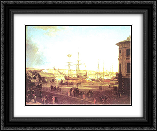 View of the English Embankmant from Visilievsky Island in St. Petersburg 24x20 Black or Gold Ornate Framed and Double Matted Art Print by Fyodor Alekseyev