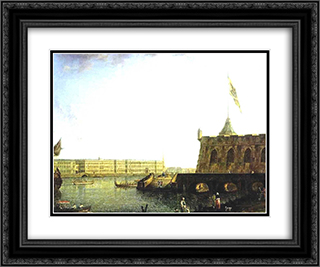 View of the Fortress of St. Peter and Paul and the Palace Embankmant 24x20 Black or Gold Ornate Framed and Double Matted Art Print by Fyodor Alekseyev