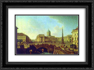 View of the Kazan Cathedral in St. Petersburg 24x18 Black or Gold Ornate Framed and Double Matted Art Print by Fyodor Alekseyev
