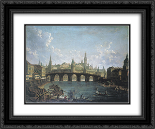 View of the Kremlin and the Kamenny Bridge in Moscow 24x20 Black or Gold Ornate Framed and Double Matted Art Print by Fyodor Alekseyev