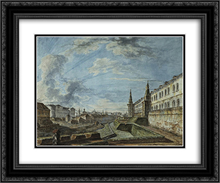 View of the Kremlin from the Troitsky Gate 24x20 Black or Gold Ornate Framed and Double Matted Art Print by Fyodor Alekseyev