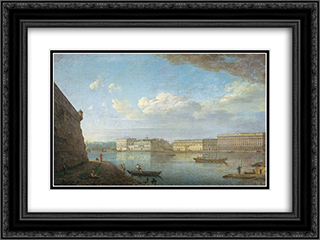 View of the Palace Embankment from St. Peter's and St. Paul's Fortress 24x18 Black or Gold Ornate Framed and Double Matted Art Print by Fyodor Alekseyev