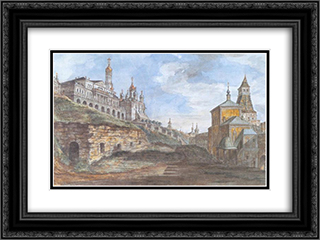 View of the Sovereign's Palace and the Church of the Annunciation in the Rye yard 24x18 Black or Gold Ornate Framed and Double Matted Art Print by Fyodor Alekseyev