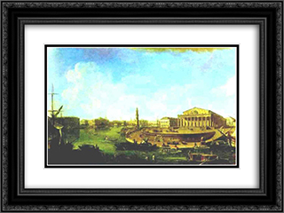 View of the Stock Exchange and the Admiralty from the Fortress of St. Peter and Paul 24x18 Black or Gold Ornate Framed and Double Matted Art Print by Fyodor Alekseyev
