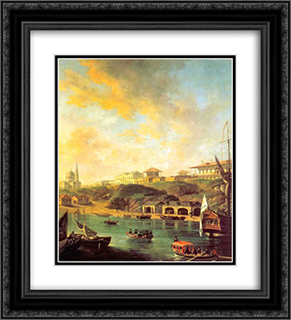 View of the town Mykolaiv 20x22 Black or Gold Ornate Framed and Double Matted Art Print by Fyodor Alekseyev