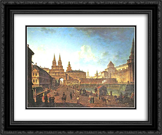 View of the Voskresensky and Nikolsky Gates and the Neglinny Bridge from Tverskay Street in Moscow 24x20 Black or Gold Ornate Framed and Double Matted Art Print by Fyodor Alekseyev