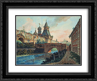 View of Vladimirskiye (Nikolskiye) Gate of Kitai gorod 24x20 Black or Gold Ornate Framed and Double Matted Art Print by Fyodor Alekseyev