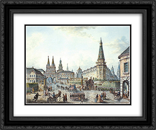 View of Voskresenskiye (Resurrection) and Nikolskiye Gates 24x20 Black or Gold Ornate Framed and Double Matted Art Print by Fyodor Alekseyev