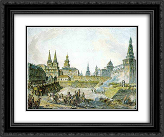 View of Voskresenskiye (Resurrection) Gates of Kitay gorod, Nikolskye Gate of Kremlin and Neglinny bridge. 24x20 Black or Gold Ornate Framed and Double Matted Art Print by Fyodor Alekseyev
