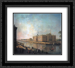 View onto St. Michael's Castle in St. Petersburg from the Fontanka Side 22x20 Black or Gold Ornate Framed and Double Matted Art Print by Fyodor Alekseyev