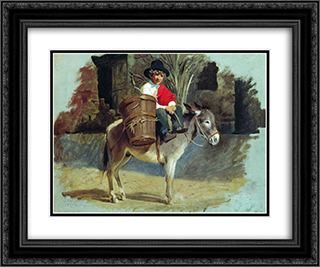 A boy on a donkey 24x20 Black or Gold Ornate Framed and Double Matted Art Print by Fyodor Bronnikov