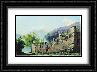 A fisherman hunging fishing nets 24x18 Black or Gold Ornate Framed and Double Matted Art Print by Fyodor Bronnikov